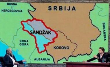 Një televizion në Serbi publikon hartën e Kosovës dhe të Sanxhakut të ndarë nga Serbia (FOTO LAJM)