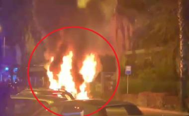 Plot me udhëtarë, shpërthen në flakë autobuzi gjatë lëvizjes në Vlorë (VIDEO)