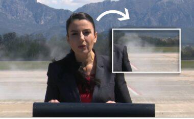 Momenti i çuditshëm, makina e policisë lëshon tym të frikshëm pas Ballukut (VIDEO)