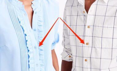 Pse këmishat e burrave i kanë kopsat në anën e djathtë dhe të grave në të majtë?