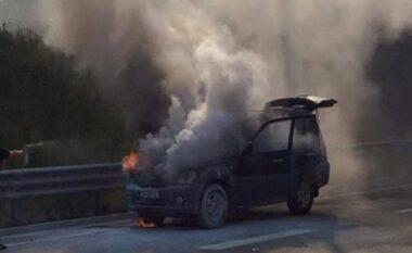 Përfshihet nga flakët makina në autostradën Tiranë – Durrës