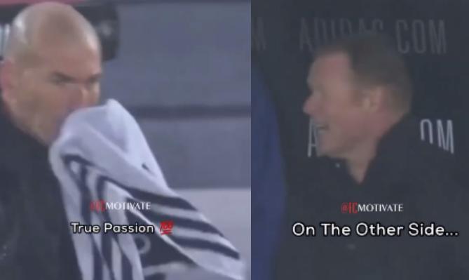 Përjetimi i trajnerëve! Kampionët dallohen nga detajet, Zidane përballet me shiun ndërsa Koeman relaksohet në pankinë (VIDEO)