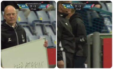 """""""Vazhdoni të sulmoni"""", trajneri bën xhiron e rrjetit me gjetjen e veçantë për të komunikuar (VIDEO)"""