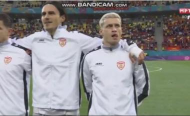 4 lojtarët shqiptarë të Maqedonisë së Veriut, nuk e kënduan himnin maqedonas (VIDEO)