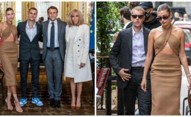 Justin Bieber takon presidentin Macron, partnerja i merr gjithë vëmendjen me pamjen ekstravagante (FOTO LAJM)