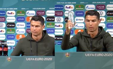 Çpati Ronaldo me Coca-Colan? E zhduk nga tavolina dhe vendos ujin (VIDEO)