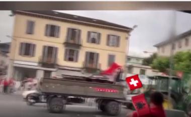 """Shaqiri bën krenar shqiptarët, flamuri """"kuqezi"""" valvitet nëpër rrugët e Zvicrës (VIDEO)"""