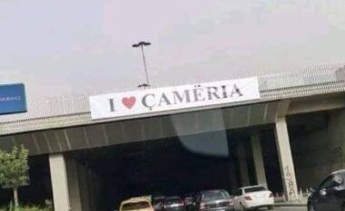 """Policia maqedonase heq mbishkrimet """"E duam Çamërinë"""" (FOTO LAJM)"""