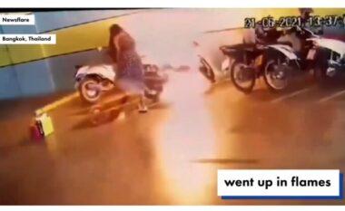 Për pak sa nuk u dogj vetë, ish e dashura i vendos flakën motorrit 31 mijë dollarësh (VIDEO)