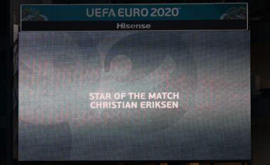 Ndeshja Danimarkë – Finlandë, UEFA shpall lojtarin e ndeshjen Eriksen