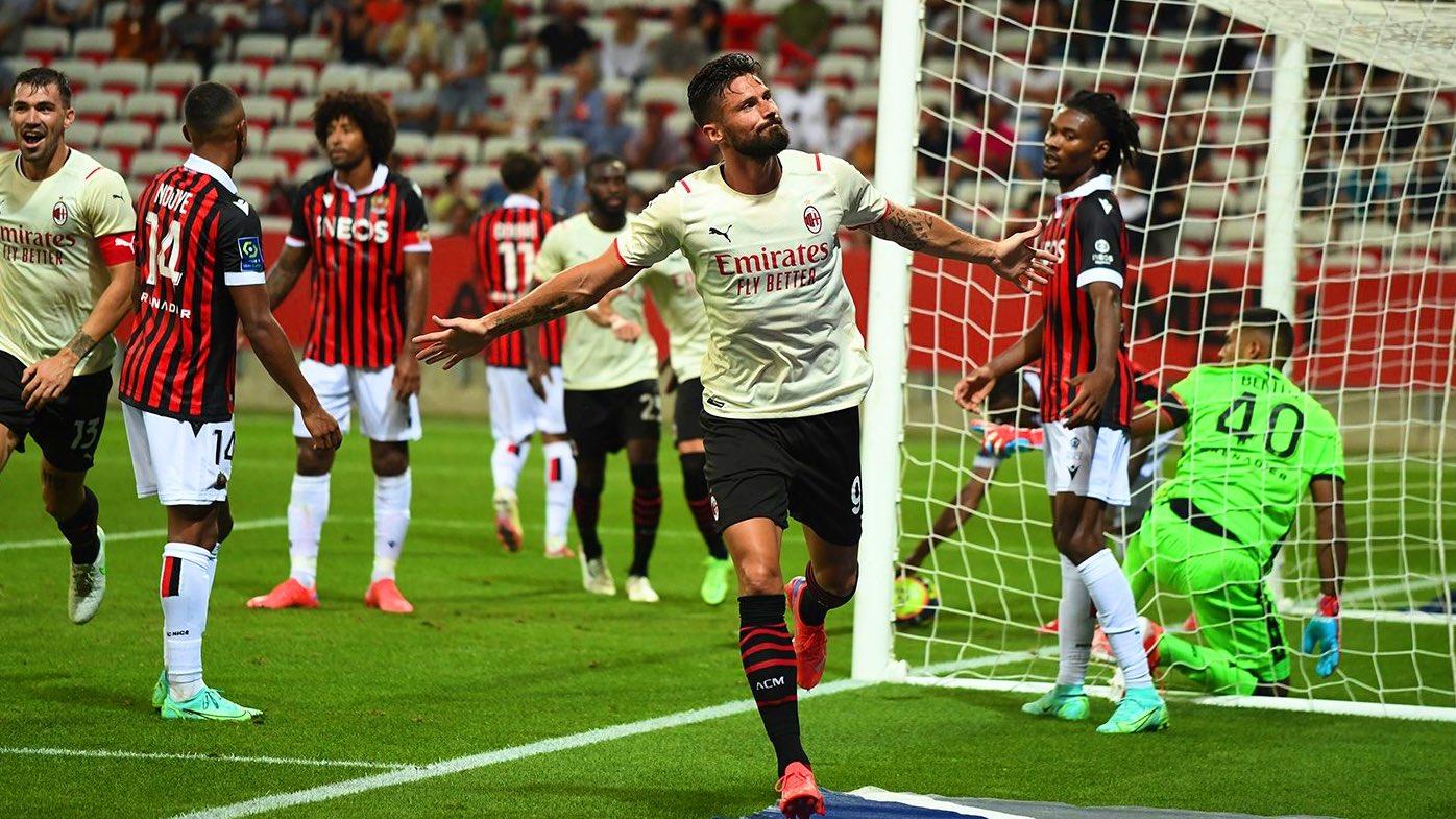 Giroud i mjaftojnë 5 minuta në fushë për të shënuar golin e parë, Milani e mbyll në barazim me Nice (VIDEO)