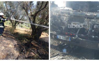 Zjarr në pyjet e Durrësit, flakët djegin dhe makina e zjarrfikëses (FOTO LAJM)