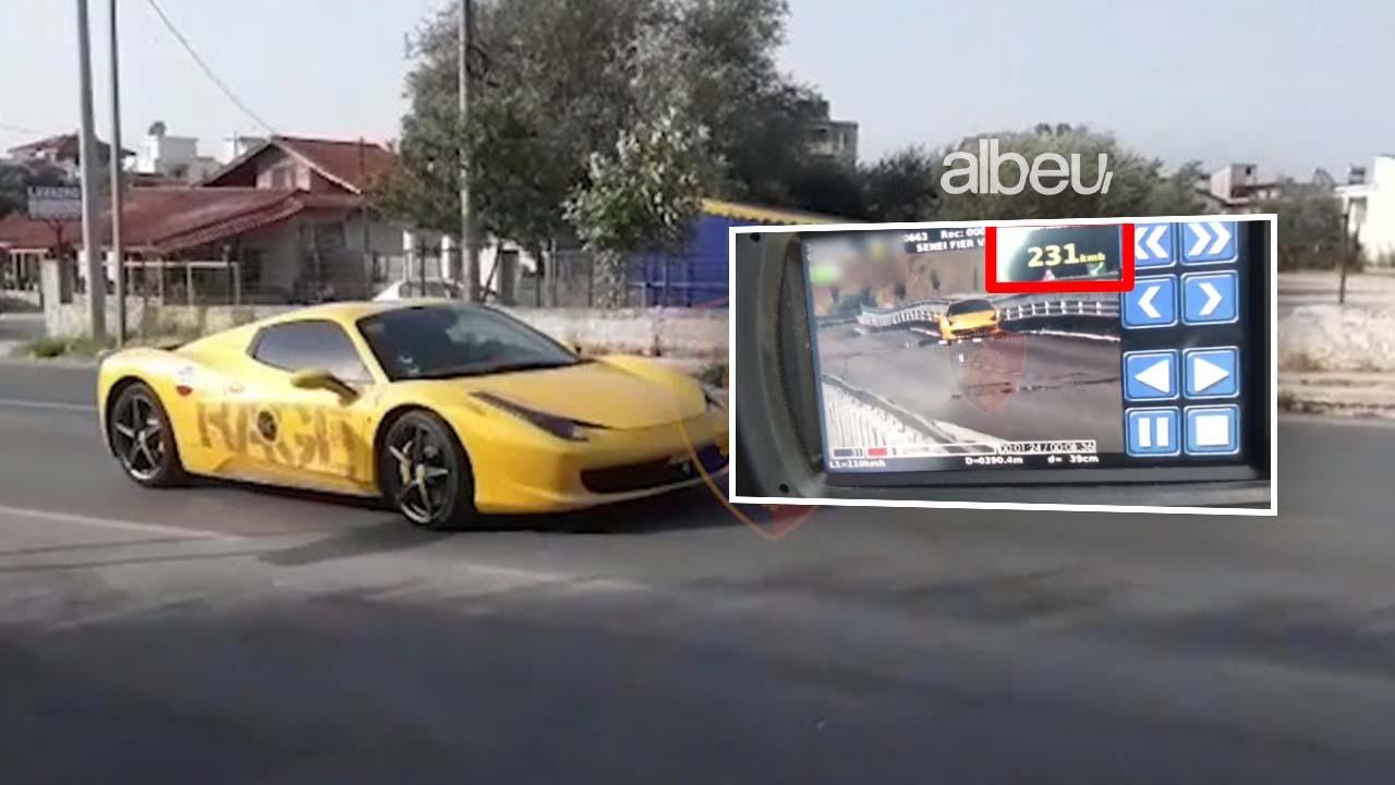 """Ferrari """"fluturon"""" në bypass-in e Fierit me 231 km/h, shoferi me patentë të falsifikuar (VIDEO)"""