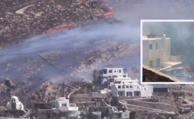 Zjarri në Mykonos, flakët arrijnë në oborret e vilave luksoze (VIDEO)