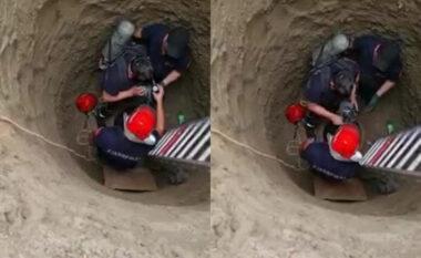Punëtori ra brenda në pus dhe vdiq, pamjet e frikshme të zjarrëfikësve duke nxjerrë trupin (VIDEO)