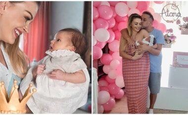 1 muaj nga lindja e Atarës, në shtëpinë e Turit dhe Orindës bëhet super festë (FOTO LAJM)
