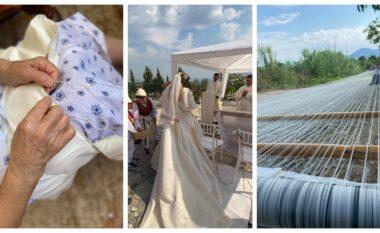 E punuar me dorë nga gjyshja dhe nëna e saj, nusja nga Lezha vesh fustanin e mrekullueshëm prej mëndafshi (FOTO LAJM)