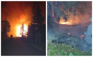 Zjarri në Rugovë jashtë kontrollit, banorët s'janë kthyer ende në shtëpitë e tyre