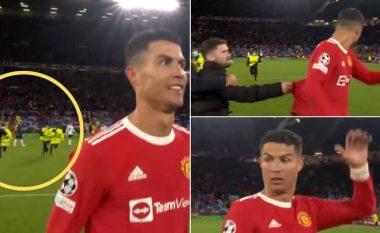 """Sigurimi ndalon tifozin e """"çmendur"""" që tentoi t'i merrte bluzën Ronaldos (VIDEO)"""