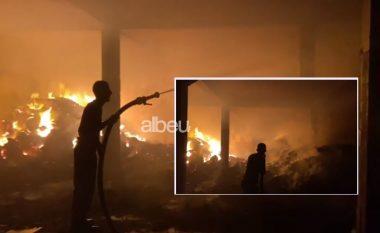 Merr flakë stalla me jonxhë në Vlorë, dy zjarrfikëse në vendngjarje (VIDEO)